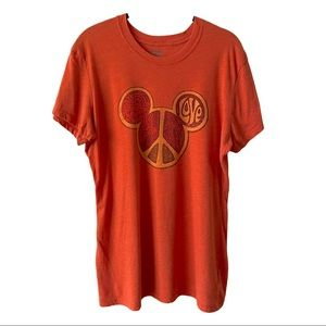 Disney Mickey Mouse Peace Love Graphic Shirt XL